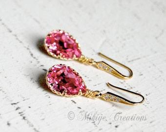 Wedding Bridemaid Earrings, Bridesmaid Jewelry,  Bridesmaid Gift, Swarovski Crystal Cubic Zirconia Drop Earrings In Rose