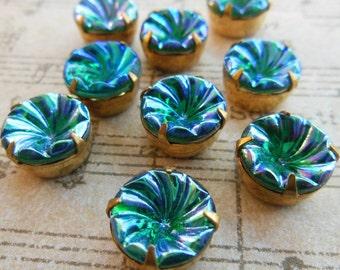 Vintage glass stones (2) Beautiful blue green AB irridescent West German rhinestones brass settings 12mm (2)