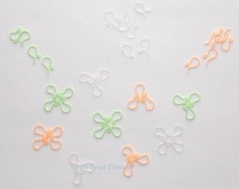 St Patty's Day Mix, 48 Plastic Earring Hook/ Ear Wire, Green Clear & Orange, for folks w/ metal allergy, Irish Flag Colors, St Patrick's Day