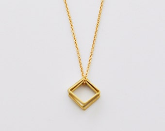 Small Square charms gold necklace - geometric tiny necklace - 3 charms - delicate gold filled minimal necklace - geo necklace - Balance
