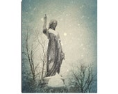Gothic Image, Snow Art Image, Stone Statue, Winter Weather Photograph, Gothic Home Art, Falling Snow - Gothic Snow Fall