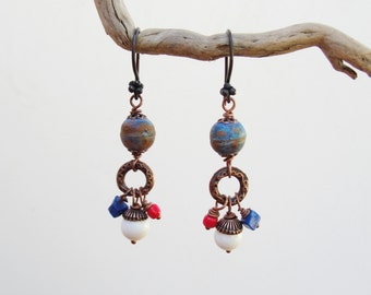 Sea Travels Earrings Coral, Lapis lazuli Stone, Copper Rustic Jewelry