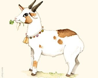 Alphabet poster, Nursery wall art, Animal alphabet print, Kids wall art, Goat print, G is for goat, wall art for children