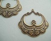 Art Deco antique gold Vintage style Brass Filigree Jewelry Findings Large hoop Earring Pendant