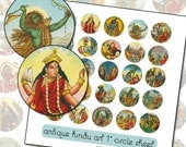 Antique Hindu Indian Gods and Goddesses 1 inch circle button digital collage sheet colorful 25.4mm