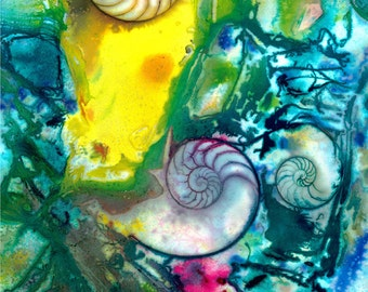 "Yellow, Blue, Sea Shell Painting, Watercolor Art, Nautilus Shell, Ocean Art, Abstract Original ""Sea Bliss No. 14""  Kathy Morton Stanion EBSQ"