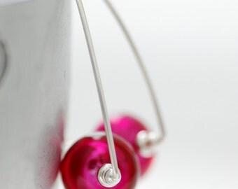 Fuchsia Earrings, Fuchsia Wedding, Simple Modern Earrings, Hot Pink Earrings, Sterling Silver, Wedding Jewelry Under 50