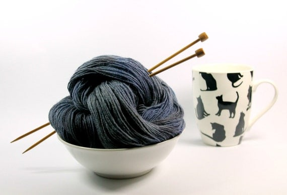 hand dyed sock yarn, 4ply, bfl wool, navy blue, black, grey ..  400 m or 437 y, 110 gr or 3.8 oz .. storm birds
