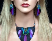 Black Orchid Peacock Feather Earrings and Peacock Feather Necklace- Ready to Ship