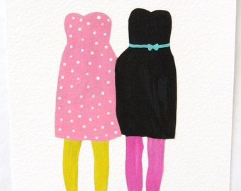 Paper Dolls. An Original Mixed Media Collage