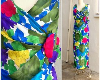 50s floral tulip dress / 60s maxi dress / SILK wiggle dress / bold wrap dress / Mad Men long cocktail dress / womens small