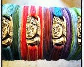 Hand Sculpted Bronze Buddha Charm on Silk Wrap