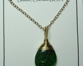 Sale CHROME DIOPSIDE From Russia 14K Gold Filled Wire Wrapped Pendant Chain Necklace Sale