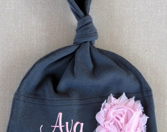Personalized Baby Girl Hat Flower Monogrammed Name Cap Knotted Embroidered