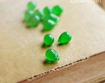Acid Rain - Czech Glass, Milky Green, Jumbo teardrops 10x14mm - 6 Pc