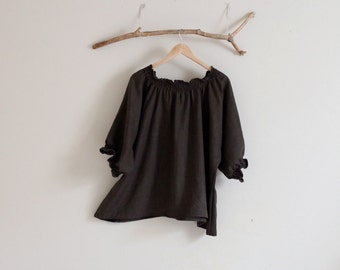 oversized  relax shirring linen top made to order