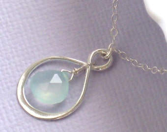 Infinity Loop and Green Gem Necklace Eternity Symbol Chalcedony Beach Wedding Bridesmaid Gift Infinity Necklace Gemstone Infinity Necklace