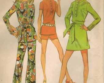 1970s McCall's 2260 Vintage Sewing Pattern Junior A-line Dress, Top, Pants, Shorts Size 5 Bust 30