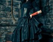 "Plus Size Steampunk Skirt - Pirate Gothic Renaissance - Black Taffeta with bustle pulls- ""Ellis Style"" Custom to Order 2XL- 5XL"