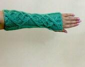 Knit Fingerless Gloves - Mint Green Cabled Arm Warmers - Light Green Long Texting Gloves - Fingerless Mittens