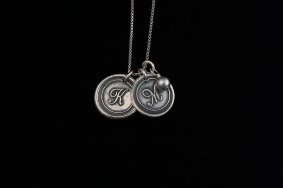 Antiqued Wax Seal Necklace with two initials