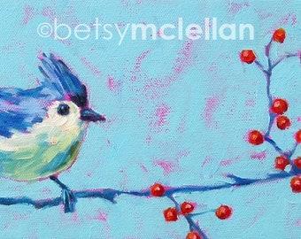 Titmouse - Bird Art - Paper - Canvas - Wood Block - Giclee Print - 18x9
