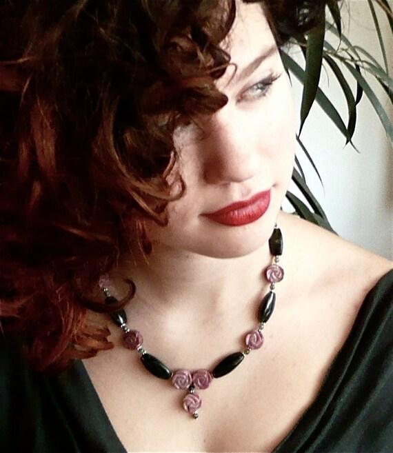 FLORA Green Pink Necklace, Stone Necklace, Pink Roses Necklace, Cottage Chic Necklace, Pre Raphaelite Necklace, Bridal Necklace, Art Nouveau