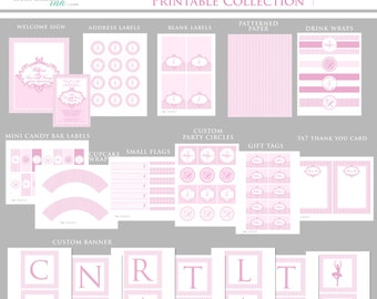PINK DAMASK BALLERINA Printable Party Decor Package