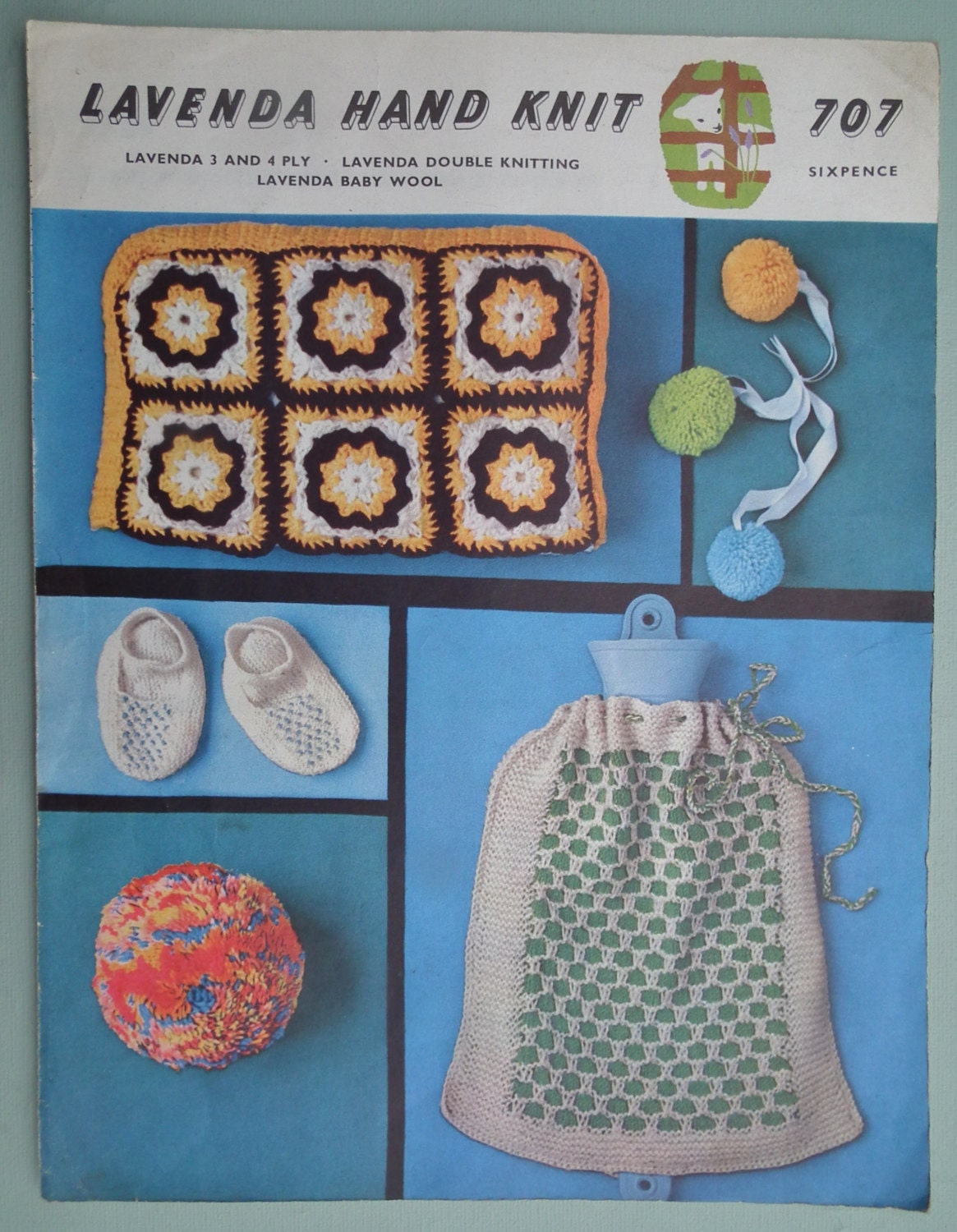 Vintage Knitting Crochet Patterns Tea Cosy Hot Water Bottle