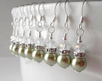 Olive Pearl Dainty Dangle Earrings, Pearl and Rhinestone Bridesmaid Jewelry, Beaded Earings, Olive Pearl Bridesmaid Earrings, Pearl Earrings