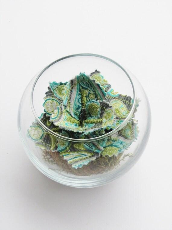 Fabric Leaf Plant Glass Terrarium - Purple Green Blue Paisley Succulent
