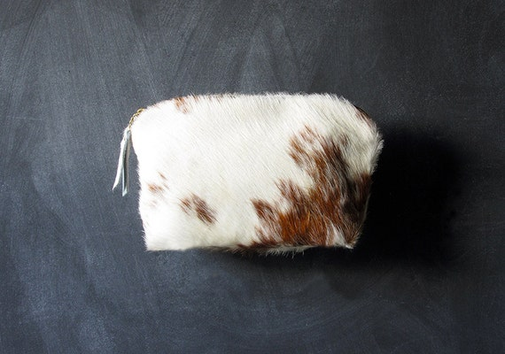 12-inch Zipper Pouch: brown and white hair on hide