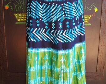 Batik Maxi Skirt, Blue green skirt, Beach skirt, Tropical skirt, Festival skirt, Cotton maxi skirt, size M / L