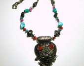 Tribal Filigree and Stone Fringed Pendant Necklace, 1970s Agates,Turquoise Stones, Quartz, Silvertone
