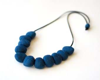 Felted Bead Necklace - Peacock Teal