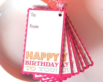 Happy Birthday To You Scallop Edge Gift Tags or Package Labels (Qty. 6)