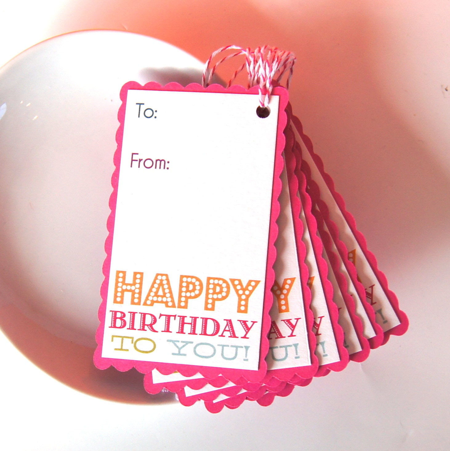 Happy Birthday To You Scallop Edge Gift Tags Or Package Labels
