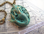 Mermaid Locket Mermaid Necklace Painted Verdigris Green Oval Locket Gothic Victorian Rustic Nautical Steampunk Locket Brass Rolo Chain