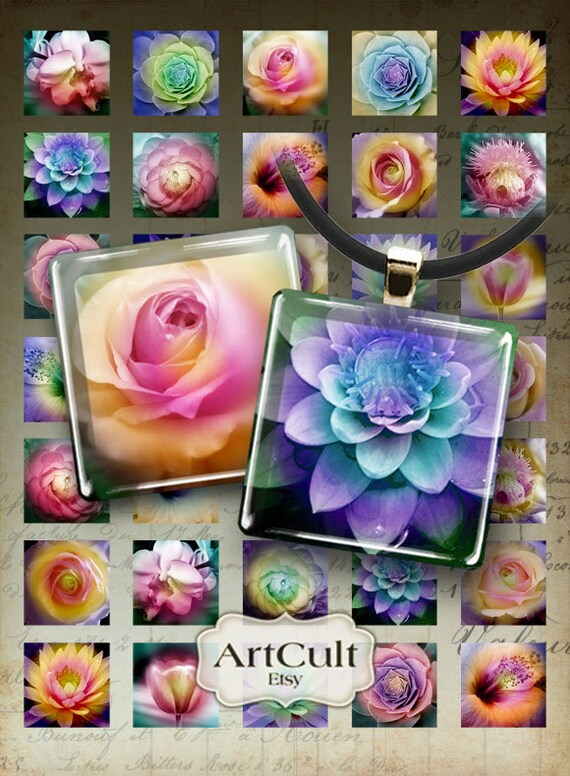 1x1 inch (25mm) and 7/8x7/8 inch images FLOWERS IN The FOG Printable downloads Digital Collage Sheet for glass and resin pendants, magnets