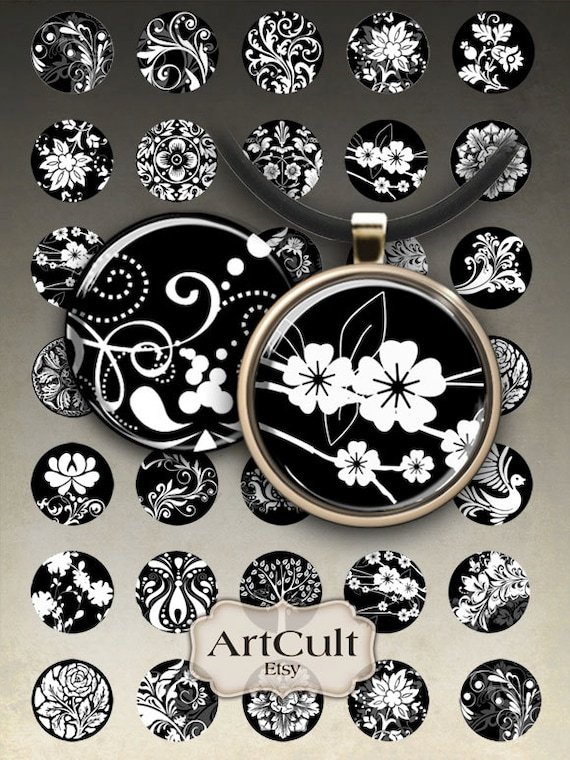 1 inch (25mm) and 1.5 inch size Printable Images BLACK and WHITE CIRCLES Digital Collage Sheet  for pendants magnets bottle caps bezel trays