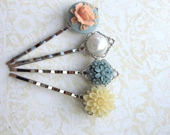 Floral Wonderland No. 10. Set of 4 Sweet Silver Plated Hair bobby Pins / Hair Clips - Bobby Hairpins. Bridesmaids Gifts.