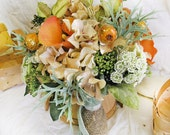 Mint Peach Wedding Flowers Country Orchard Golden Rosehips Rustic Bridal Bouquet