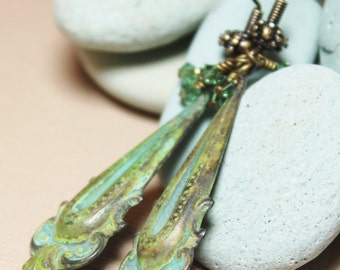 Athens... Handmade Jewelry Earrings Beaded Patina Metal Crystal Olive Verdigris Green Antique Brass Long Drops Dangle Lightweight