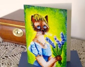 Regency Cat Greeting Card, Siamese Cat in Blue Dress with Lilacs, CLEARANCE Card