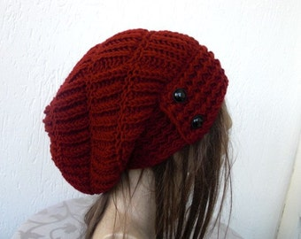 Womens hat  Slouchy Hat Beanie  Knit Hat  Winter  hat   chunky knit marsala  Hat   Button  Fall Winter Accessories   Burgundy red  Fashion