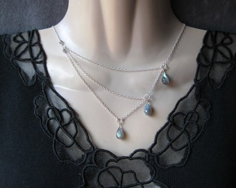 Silver Labradorite Necklace with a Trio of Gemstones