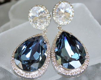 Sapphire Blue Swarovski Crystal Teardrops With CZ Halo Crystals On CZ Stud Earrings