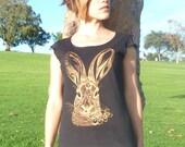 Brush Rabbit tshirt - eco friendly copper ink screenprint on sheer black cotton - sizes S, M, L