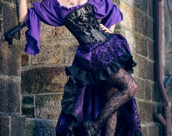 Purple, Black, and Silver Steampunk Pirate Corset Outfit, Saloon Girl, Airship, Wild West, West World, Western, Victorian, High-Low skirt