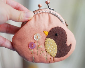 Singing bird Patchwork purse (Metal Frame)